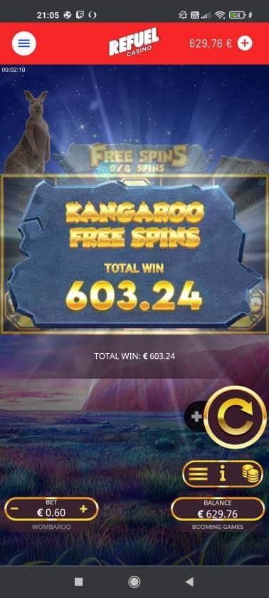 Wombaroo Casino win picture by rossoneri82 14.6.2021 603.24e 1005X Refuel