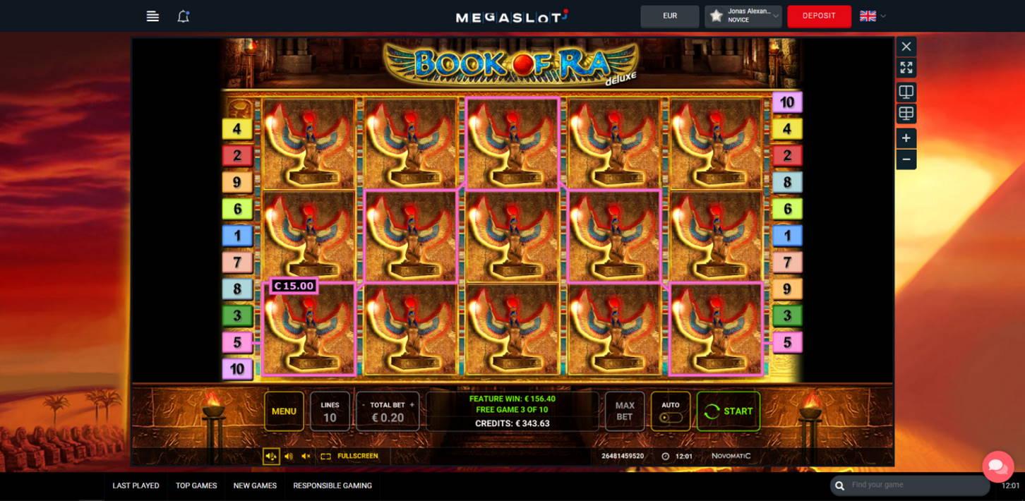 Book of Ra Deluxe Casino win picture by Jonkki 28.6.2021 156.40e 782X MegaSlot