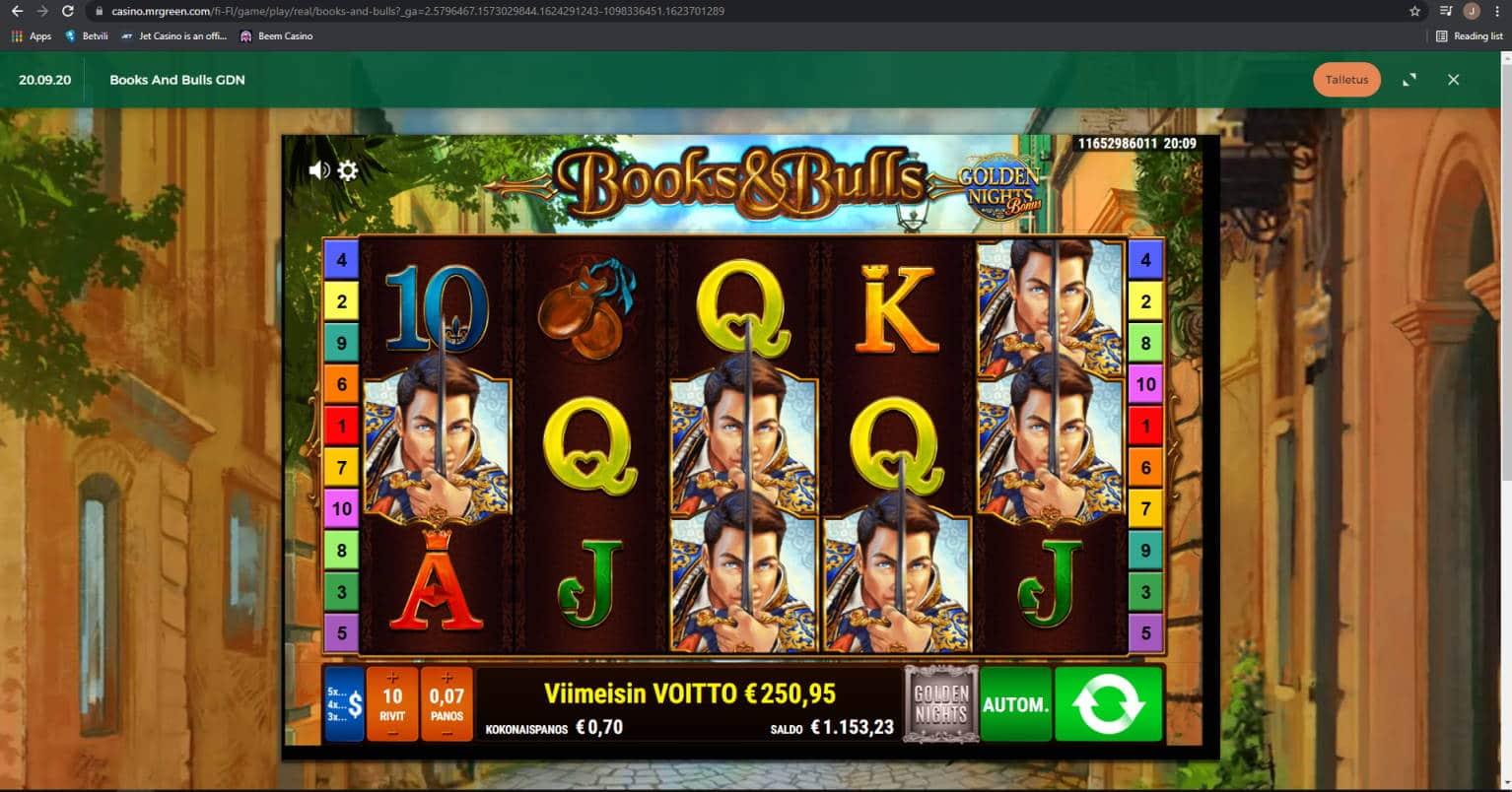 Books & Bulls Casino win picture by Jonkki 23.6.2021 250.95e 359X MrGreen
