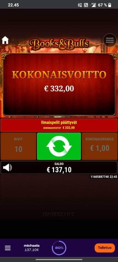 Books & Bulls Casino win picture by tiikerililja87 17.6.2021 332e 332X