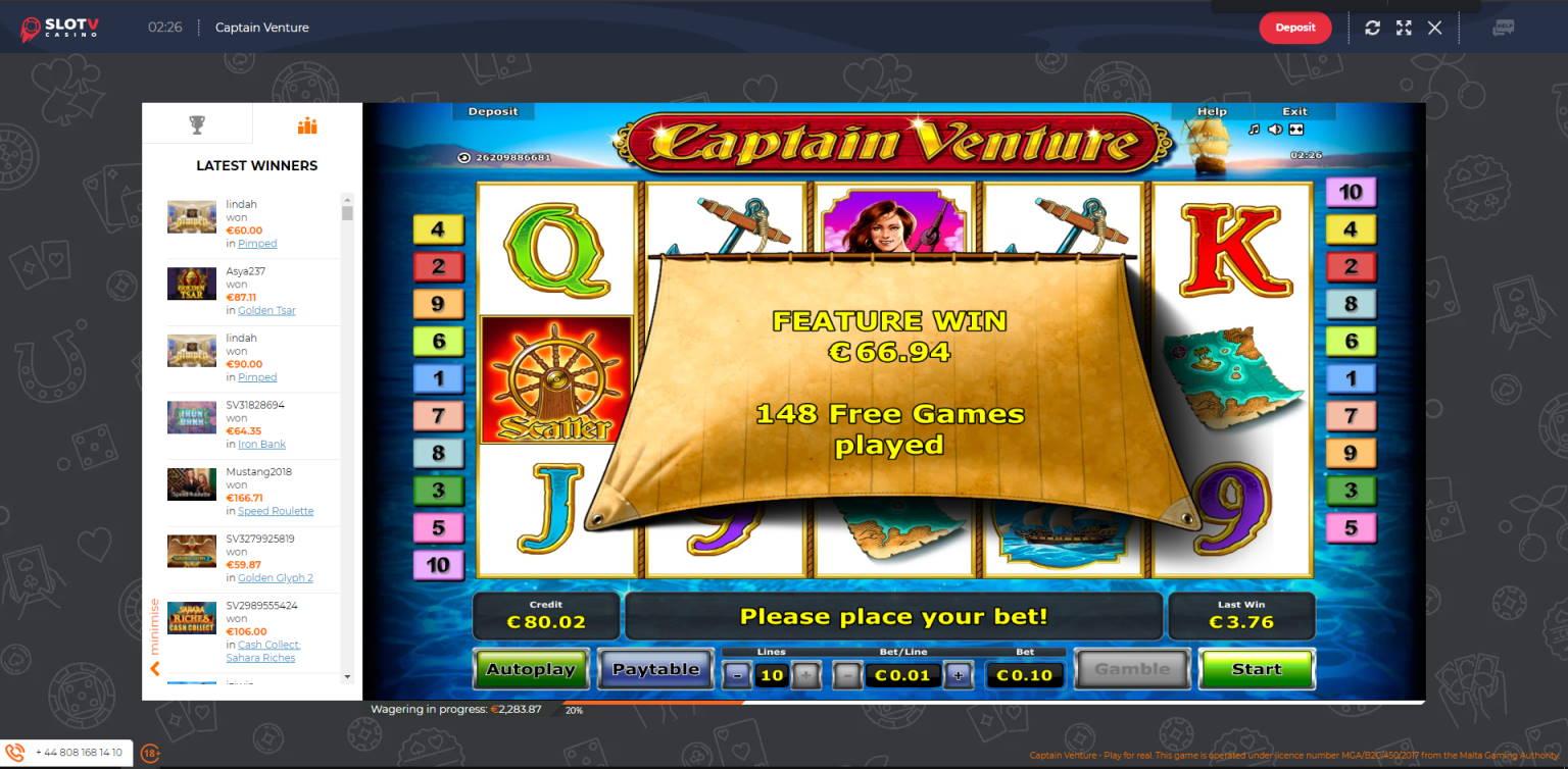 Captain Venture Casino win picture by Jonkki 21.6.2021 66.94e 669X SlotV