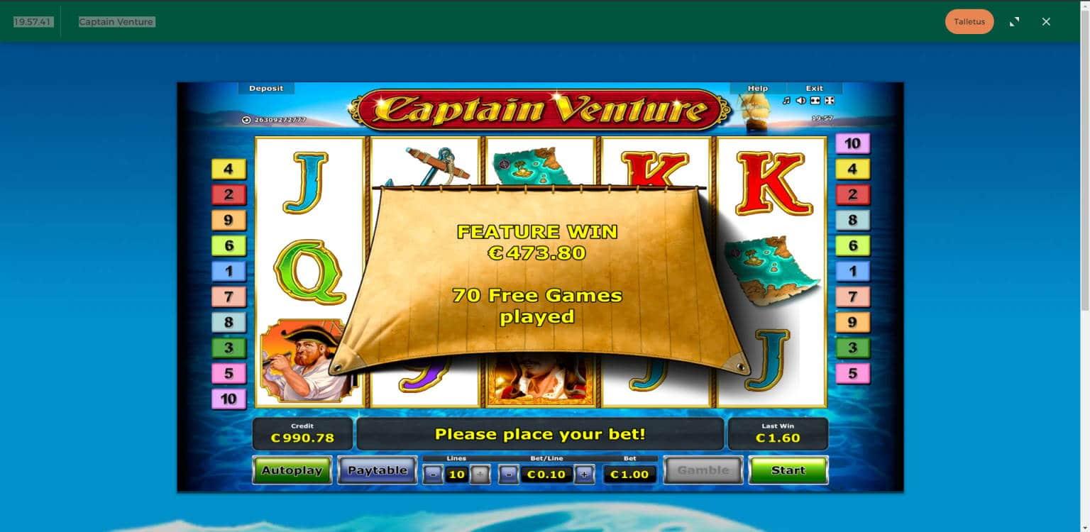 Captain Venture Casino win picture by Jonkki 23.6.2021 473.80e 474X