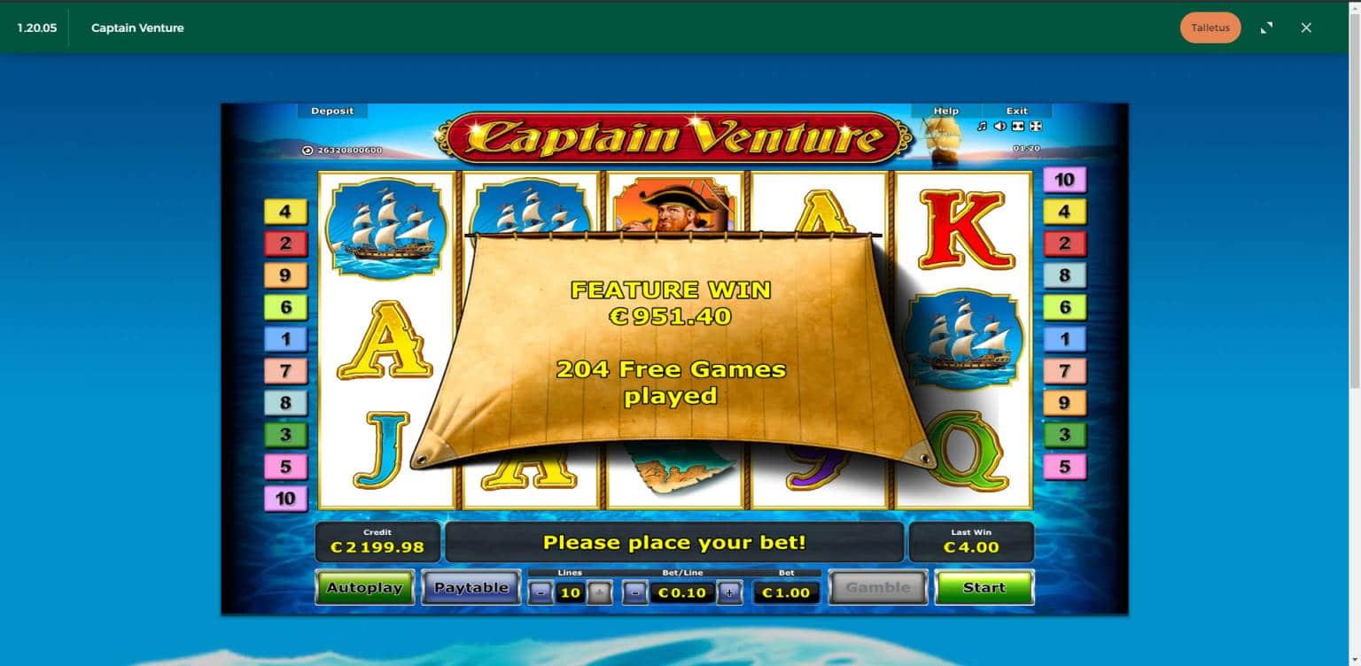 Captain Venture Casino win picture by Jonkki 24.6.2021 951.40e 951X MrGreen