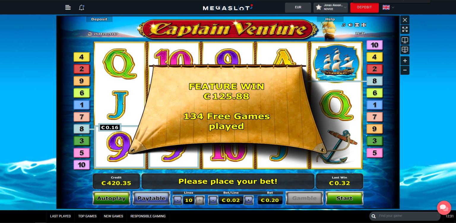 Captain Venture Casino win picture by Jonkki 28.6.2021 125.88e 629X MegaSlot