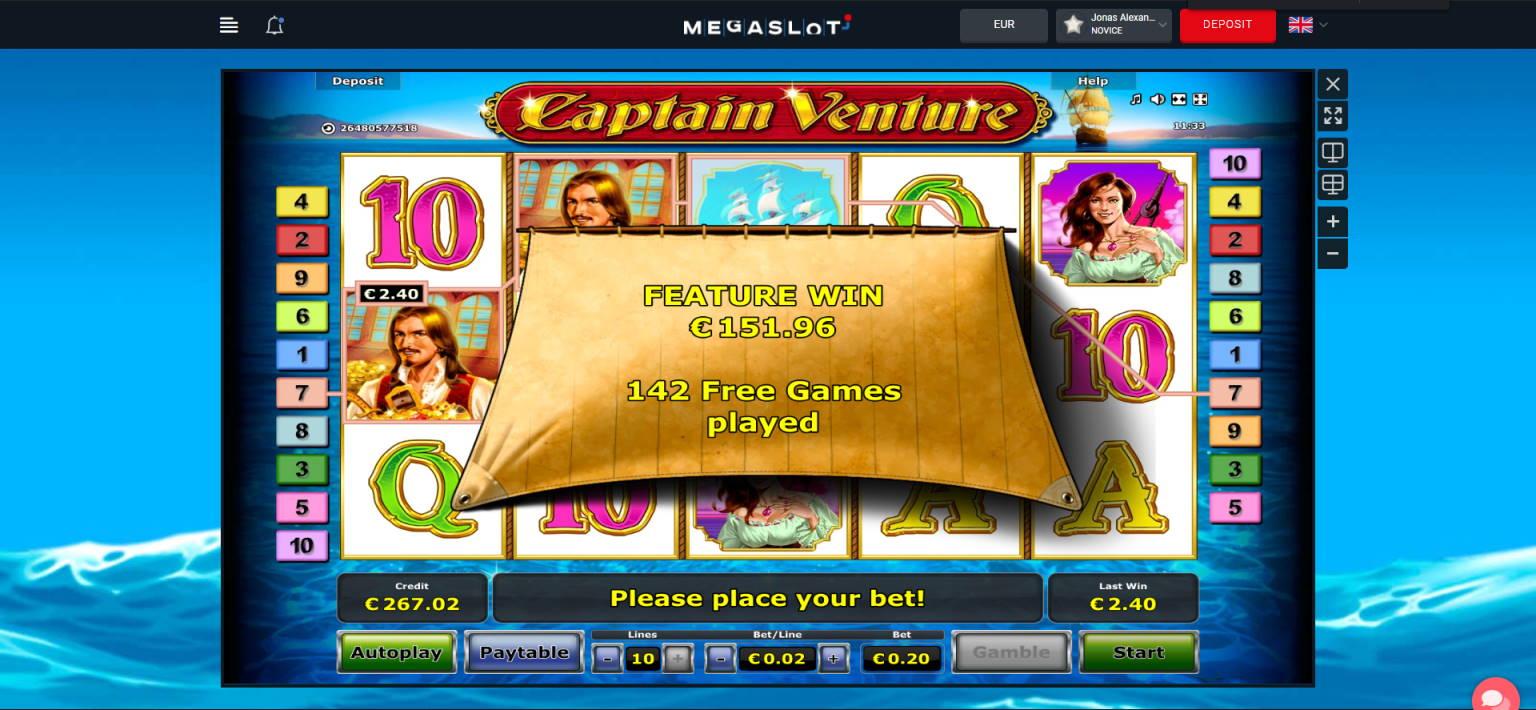 Captain Venture Casino win picture by Jonkki 28.6.2021 151.96e 760X MegaSlot