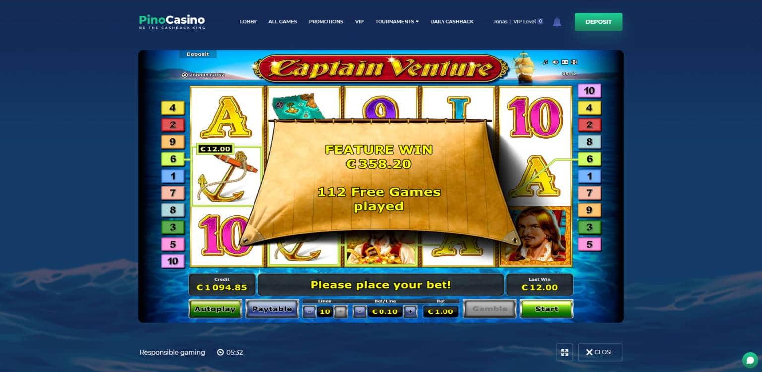 Captain Venture Casino win picture by Jonkki 8.7.2021 358.20e 358X Pino Casino