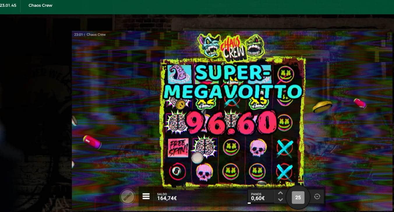Chaos Crew Casino win picture by Mrmork666 29.6.2021 96.60e 161X