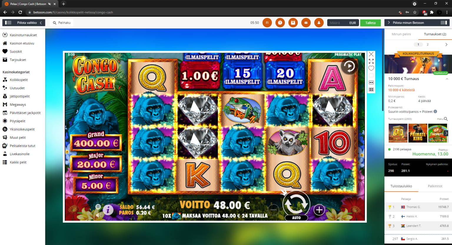 Congo Cash Casino win picture by FartyPantZ 14.7.2021 48e 240X Betsson