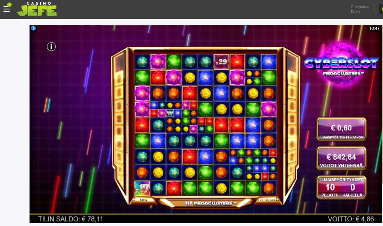 Cyberslot Megaclusters Casino win picture by MrMork 12.7.2021 842.64e 1404X Casino Jefe