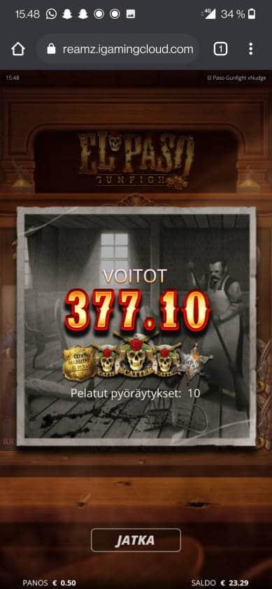 El Paso Gunfight Casino win picture by jube 21.6.2021 377.10e 754X