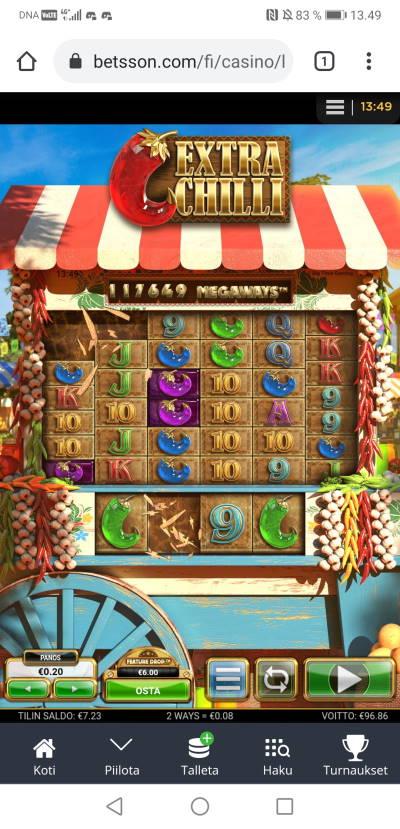 Extra Chilli Casino win picture by Hookos 18.6.2021 96.86e 484X Betsson