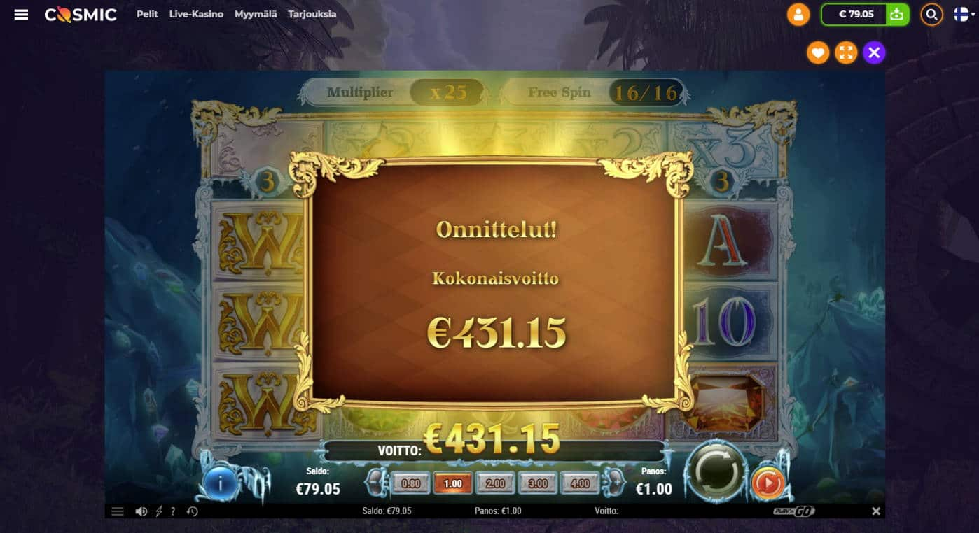 Frozen Gems Casino win picture by Banhamm 7.7.2021 431.15e 431X Cosmic