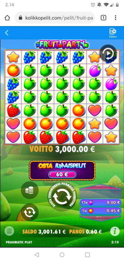 Fruit Party Casino win picture by nuse 12.7.2021 3000e 5000X Kolikkopelit