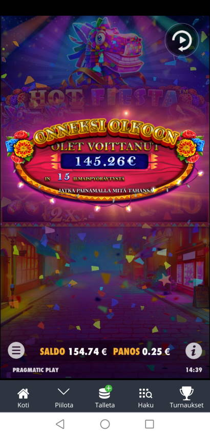 Hot Fiesta Casino win picture by Hookos 18.6.2021 145.26e 581X