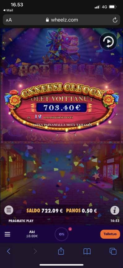 Hot Fiesta Casino win picture by aki_2772 1.7.2021 703.40e 1407X Wheelz