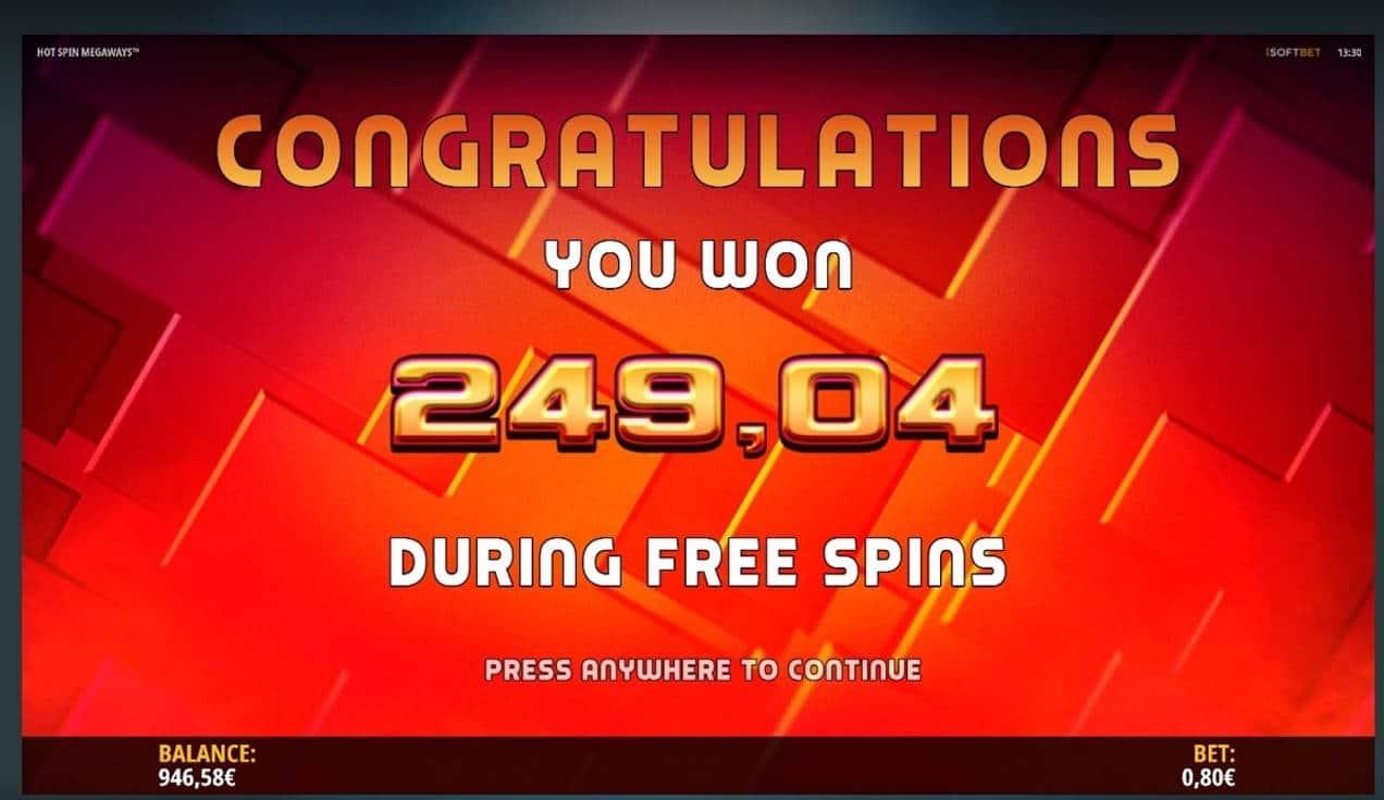 Hot Spin Megaways Casino win picture by SIMPauttaja 16.7.2021 249.04e 311X