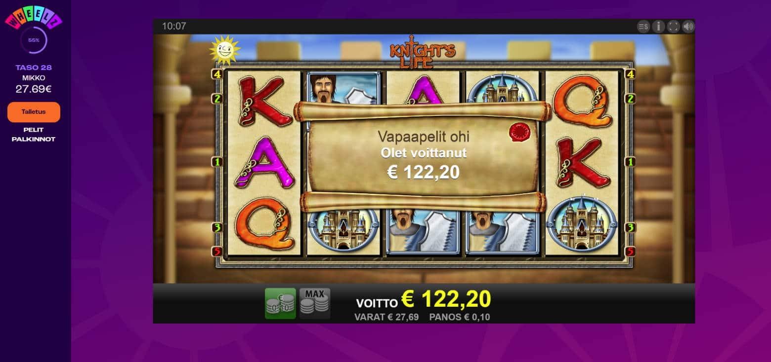 Knights Life Casino win picture by Banhamm 7.7.2021 122.20e 1222X Wheelz