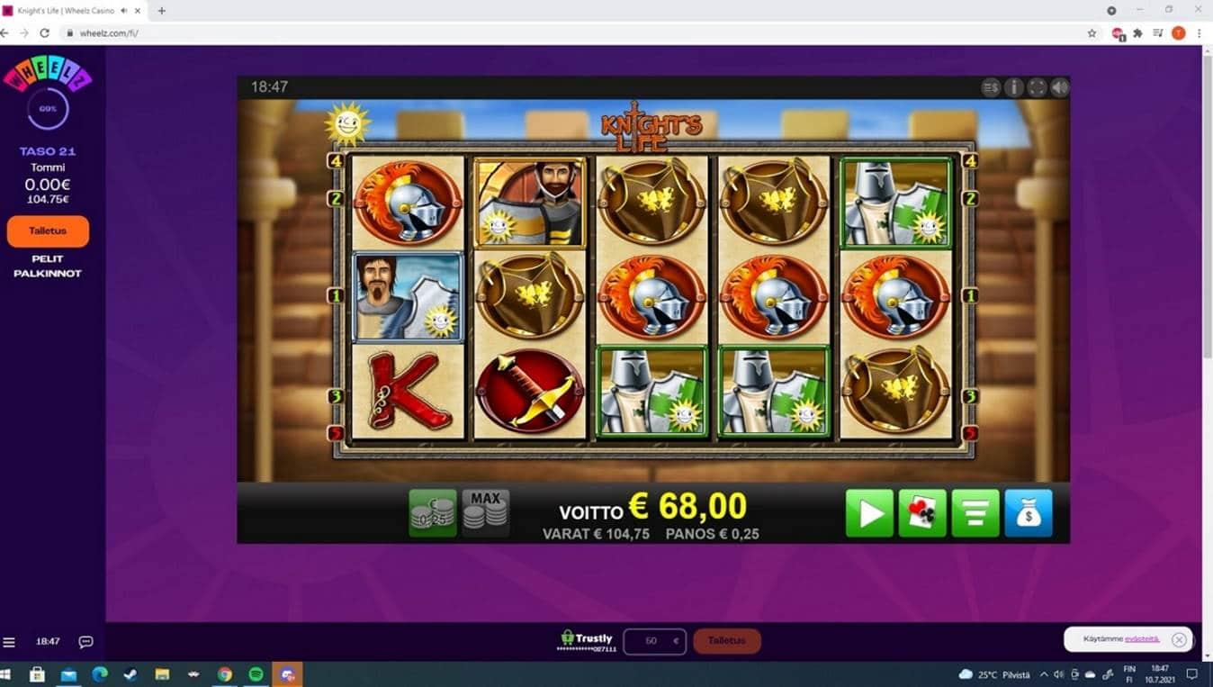 Knights Life Casino win picture by Tomezu 10.7.2021 68e 272X Wheelz