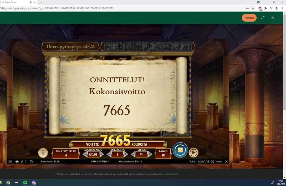 Legacy of Dead Casino win picture by Tomezu 28.6.2021 76.65e 767X MrGreen