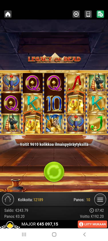 Legacy of Dead Casino win picture by holari993 18.7.2021 192.20e 961X