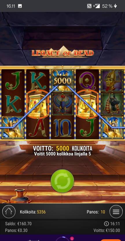 Legacy of Dead Casino win picture by jelemeri 13.7.2021 150e 500X Wheelz