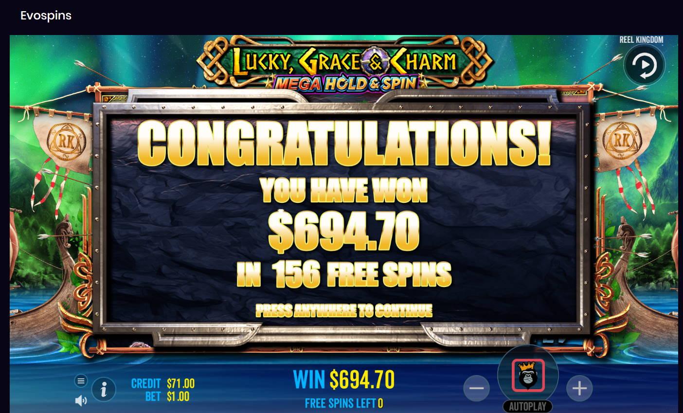 Lucky Grace & Charm Casino win picture by Kari Grandi 15.7.2021 694.70e 695X
