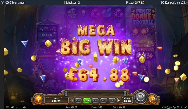 Miner Donkey Trouble Casino win picture by Mrmork666 29.6.2021 64.88e 324X iBet