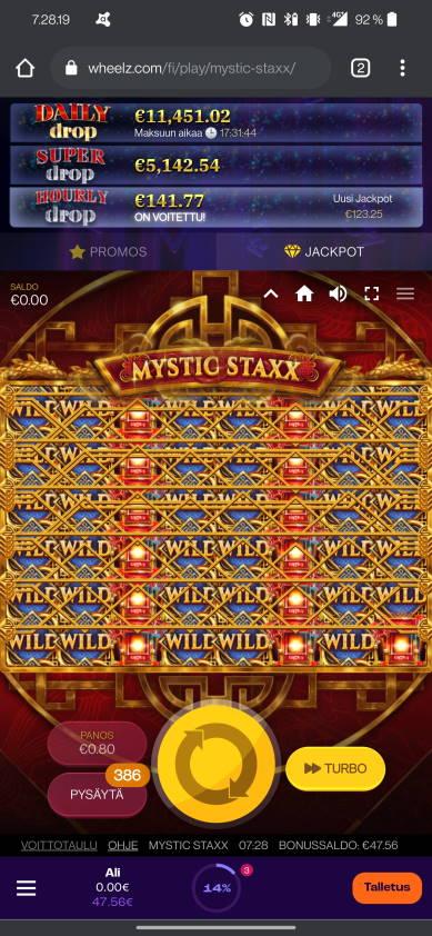 Mystic Staxx Casino win picture by alkkade 22.7.2021 680e 850X Wheelz