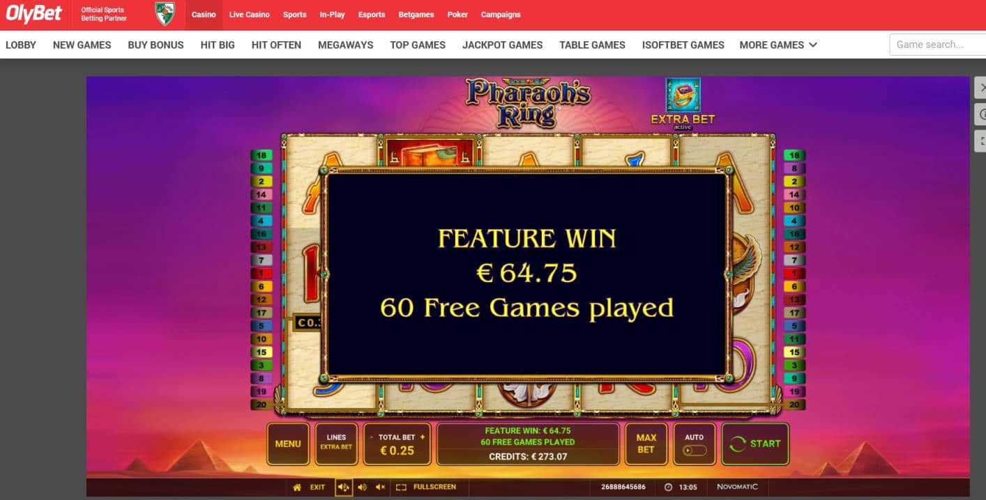 Pharaos Ring Casino win picture by MrMork 8.7.2021 64.75e 259X OlyBet