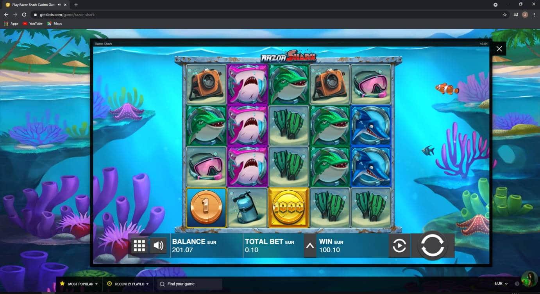Razor Shark Casino win picture by Jonkki 25.5.2021 100.10e 1001X Getslot