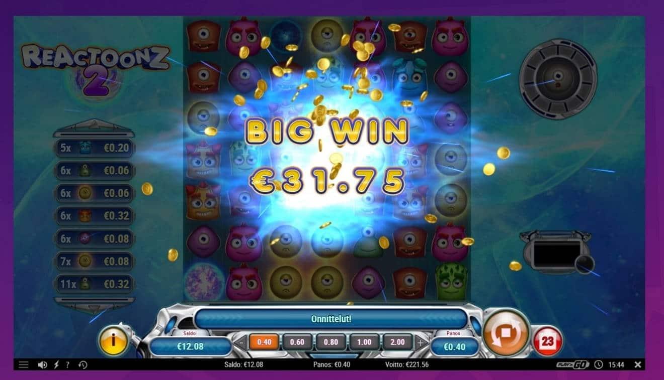 Reactoonz 2 Casino win picture by SIMPauttaja 9.7.2021 221.56e 554X Wheelz