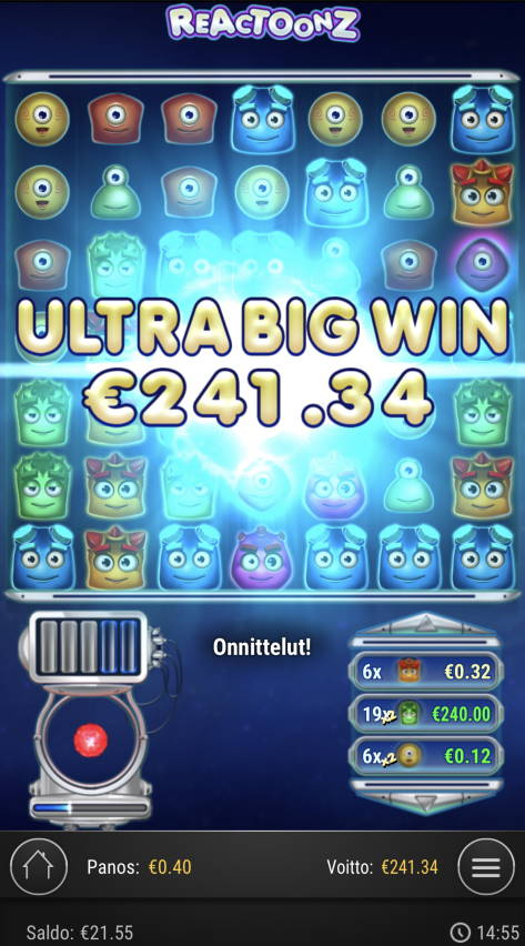 Reactoonz Casino win picture by Sonefinland 17.7.2021 241.34e 603X