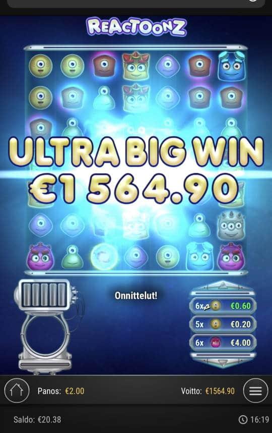Reactoonz Casino win picture by Sonefinland 2.7.2021 1564.90e 782X