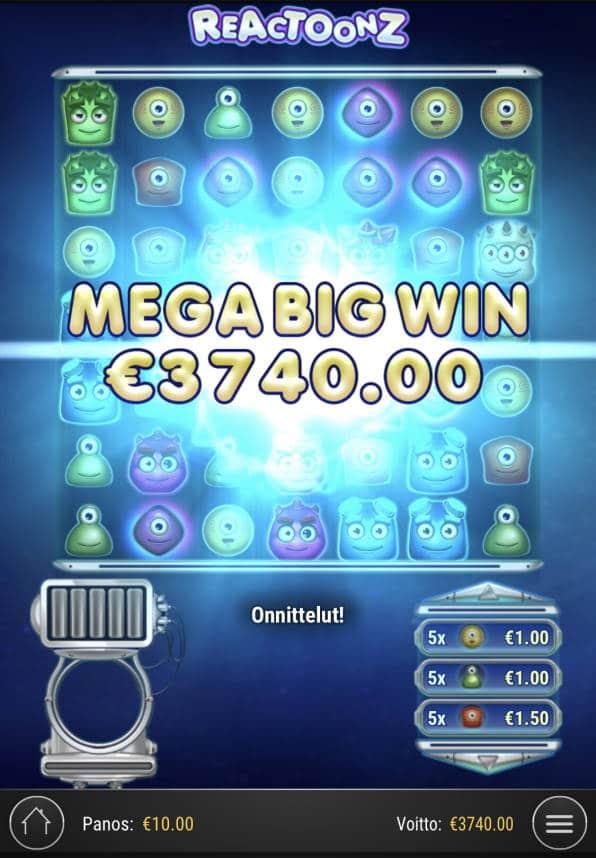 Reactoonz Casino win picture by Sonefinland 2.7.2021 3740e 374X