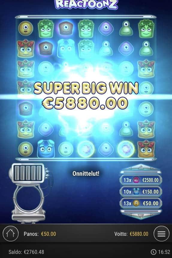 Reactoonz Casino win picture by Sonefinland 2.7.2021 5880e 118X
