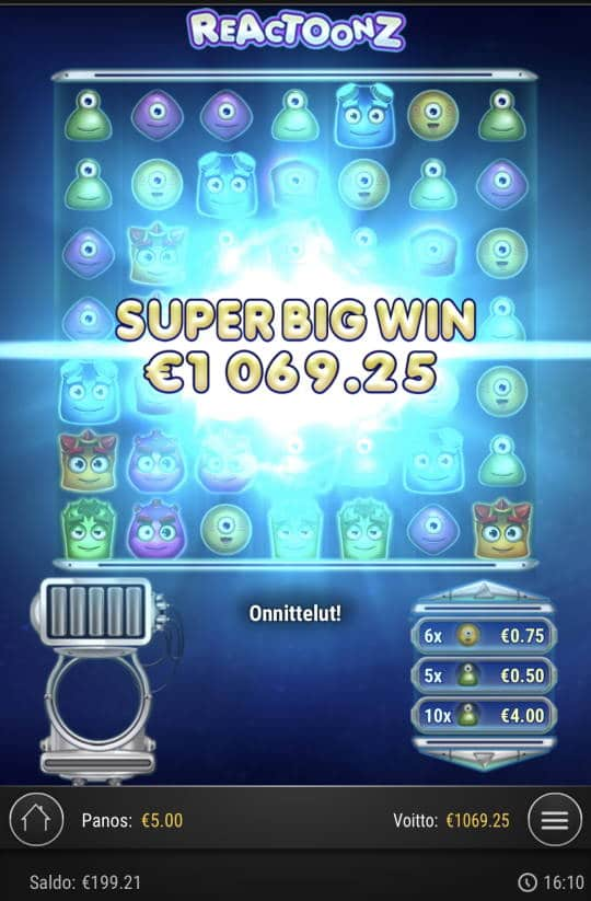 Reactoonz Casino win picture by Sonefinland 21.6.2021 1069.25e 214X