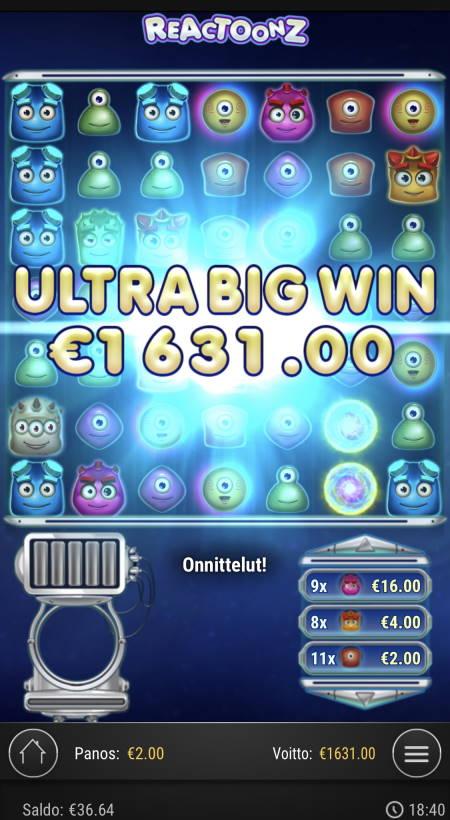 Reactoonz Casino win picture by Sonefinland 23.6.2021 1631e 816X