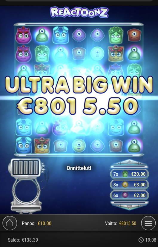 Reactoonz Casino win picture by Sonefinland 23.6.2021 8015.50e 802X