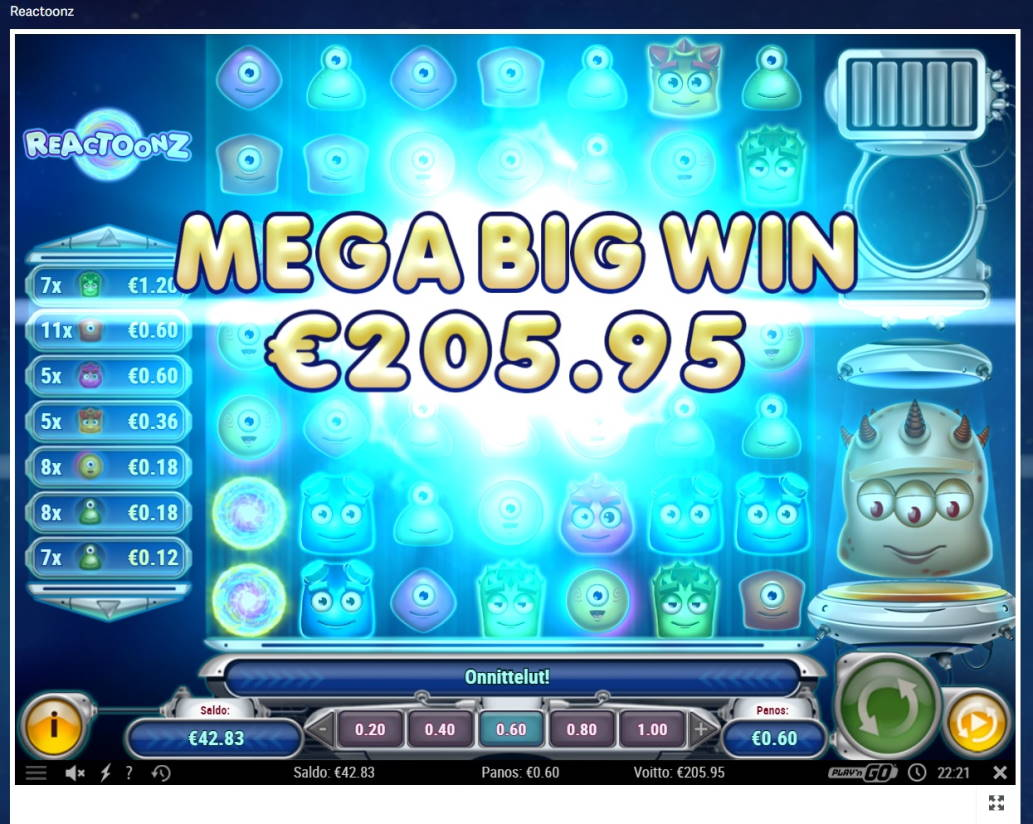 Reactoonz Casino win picture by steppeni 30.6.2021 205.95e 343X