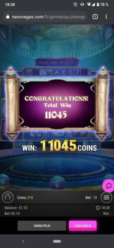 Rise of Merlin Casino win picture by Henkka 14.7.2021 110.45e 1105X NeonVegas