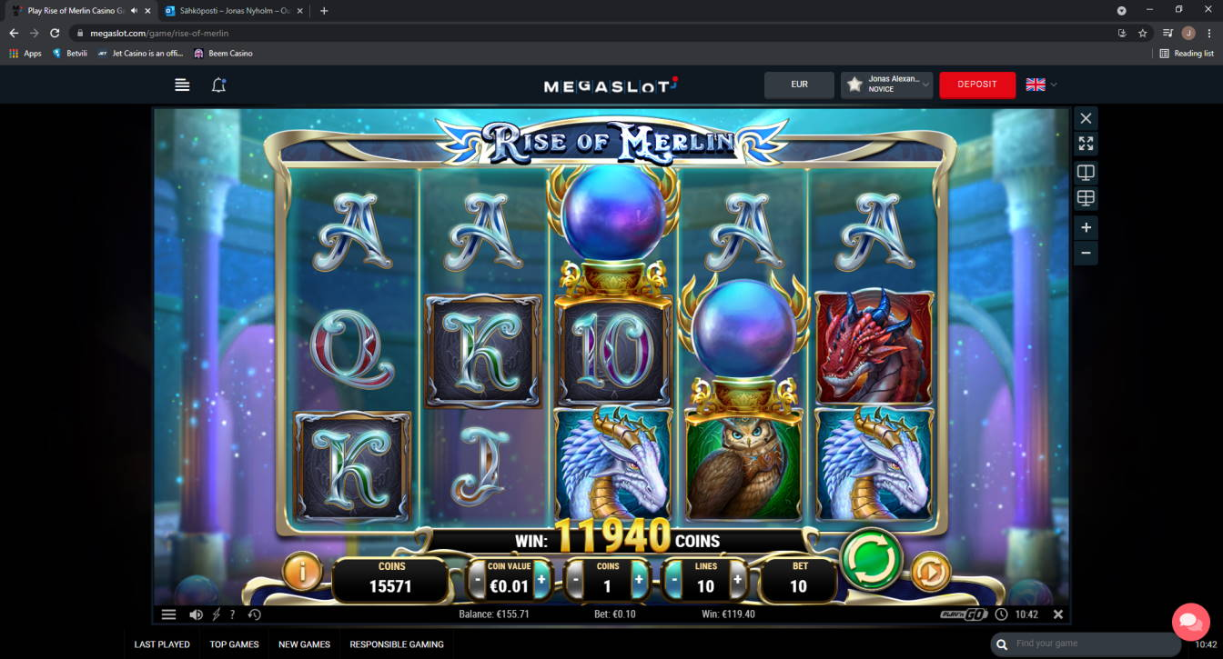 Rise of Merlin Casino win picture by Jonkki 28.6.2021 119.40e 1194X MegaSlot