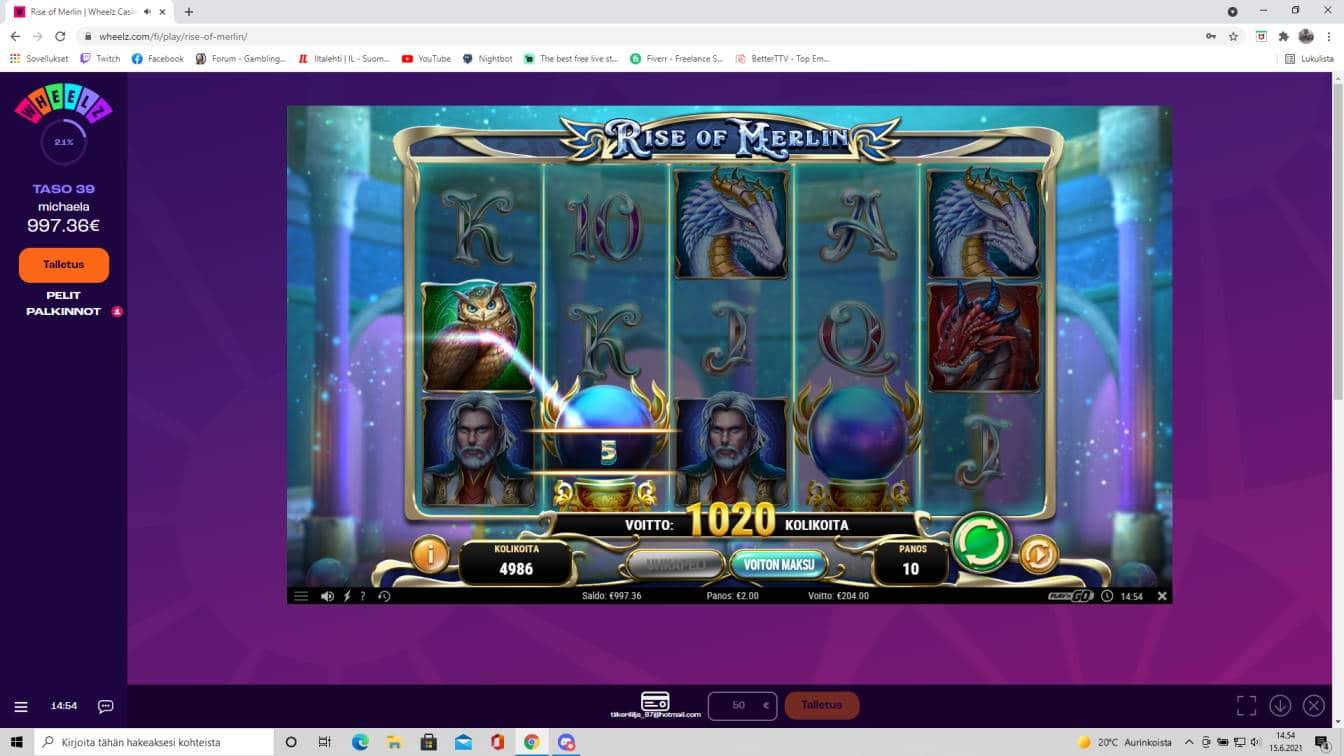 Rise of Merlin Casino win picture by tiikerililja87 15.6.2021 204e 102X wheelz