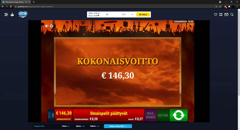 Roman Legion Casino win picture by FartyPantZ 18.6.2021 146.30e 732X Go Slotty