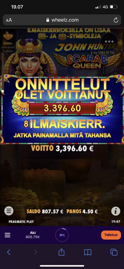 Scarab Queen Casino win picture by aki_2772 1.7.2021 3396.60e 755X Wheelz