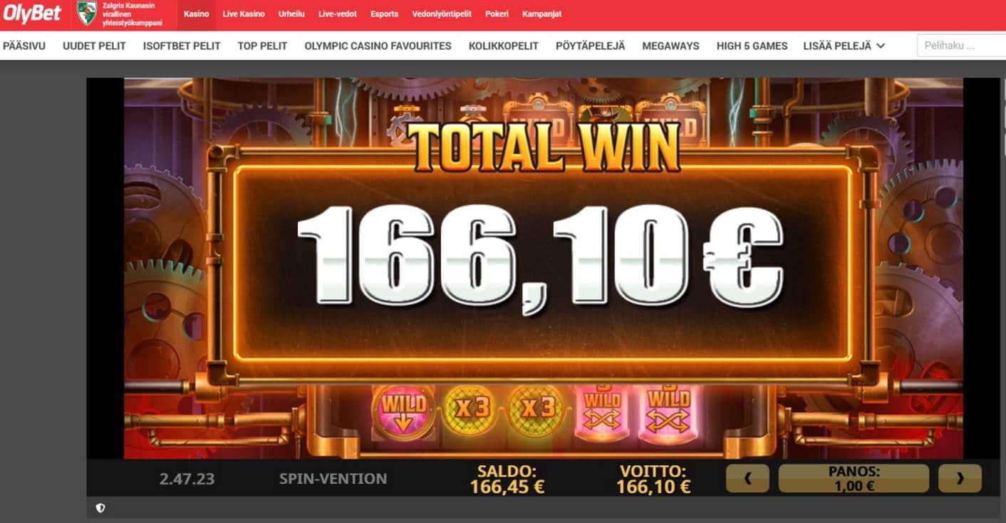Spin Vention Casino win picture by Mrmork666 28.4.2021 166.10e 166X Olybet