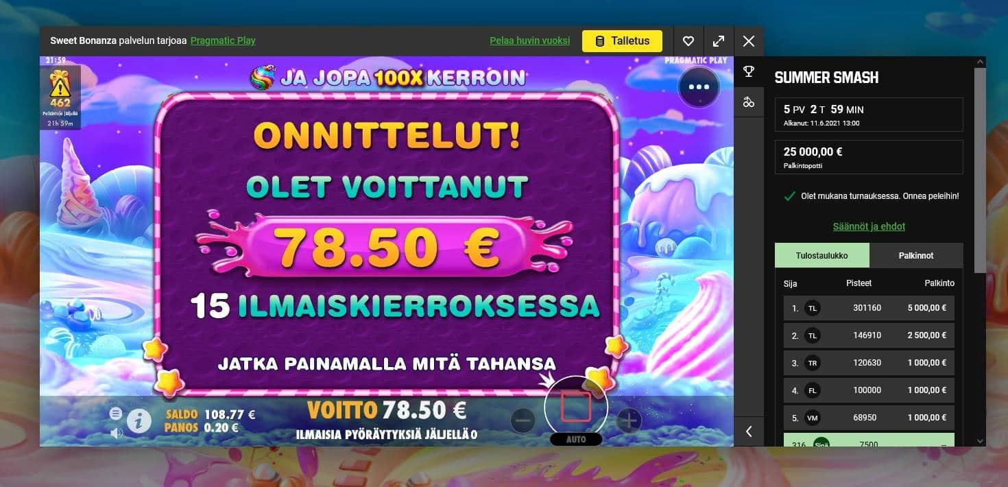 Sweet Bonanza Casino win picture by Mrmork666 29.6.2021 78.50e 392X