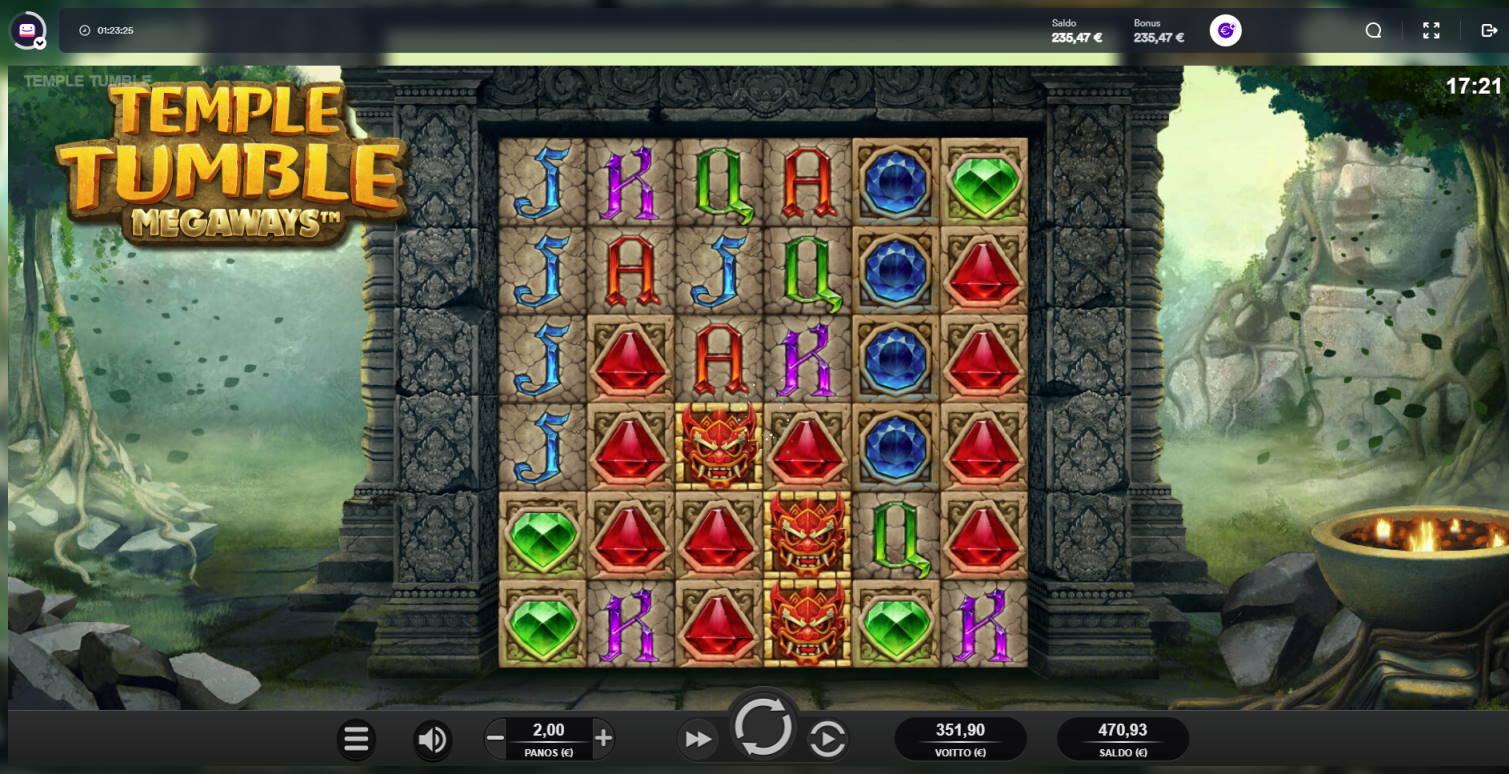 Temple Tumble Casino win picture by Banhamm 6.7.2021 351.90e 176X Casumo