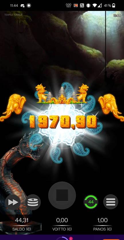 Temple Tumble Casino win picture by Salatheel 4.7.2021 1970.90e 1971X Wheelz