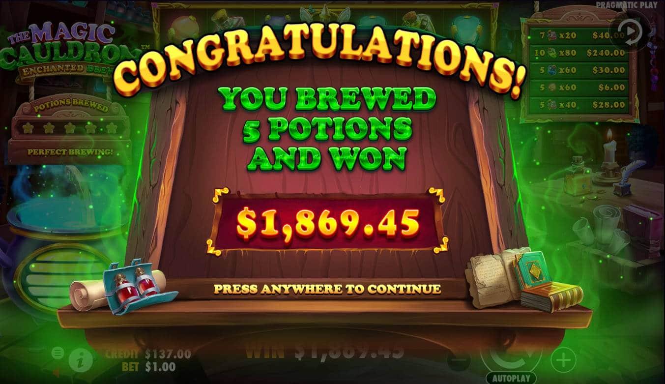 The Magic Cauldron Casino win picture by Kari Grandi 27.5.2021 1869.45d 1869X