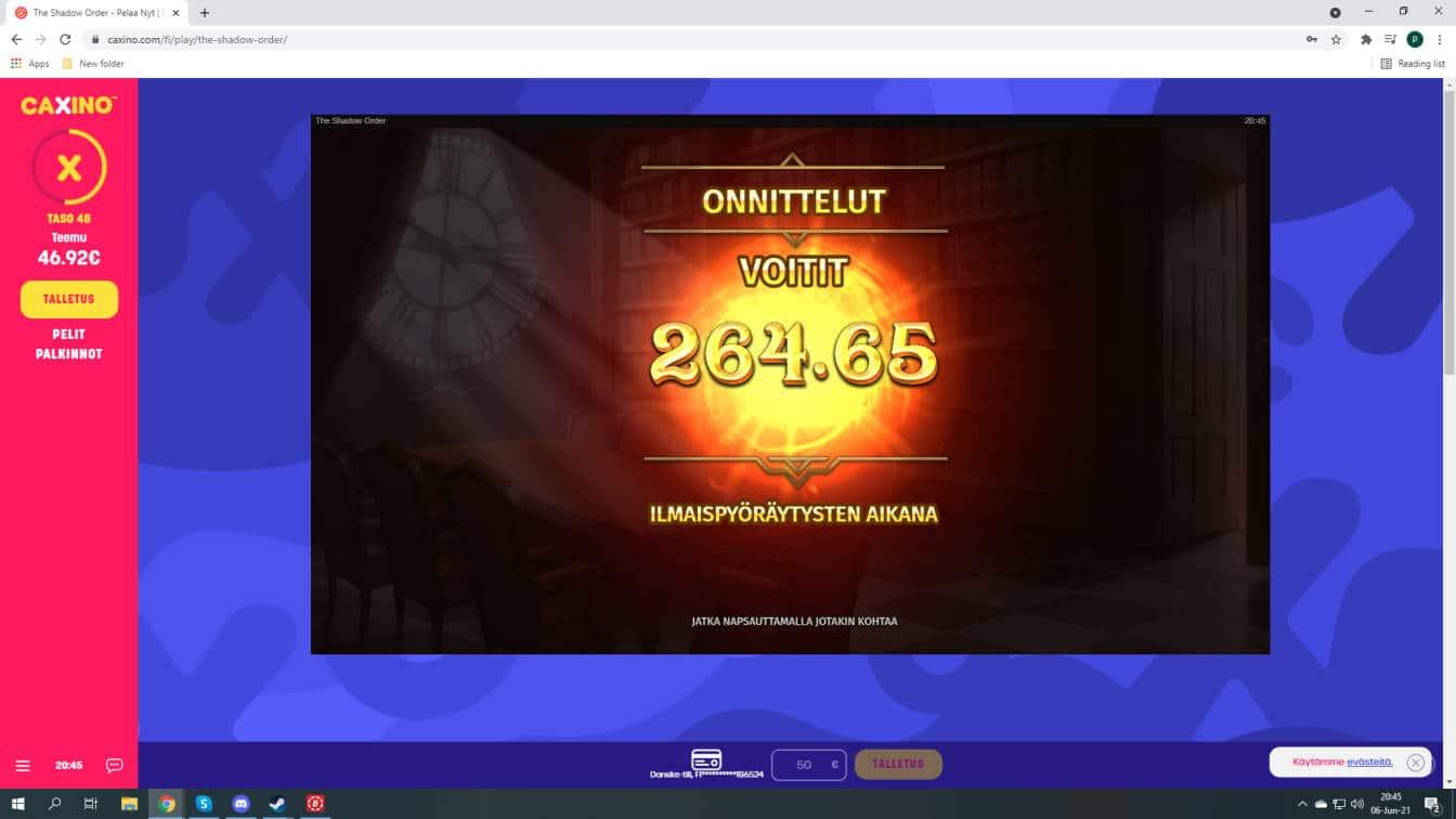 The Shadow Order Casino win picture by fujilwyn 6.6.2021 264.65e 529X Caxino